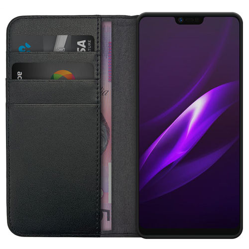Leather Wallet Case & Card Holder Pouch for Oppo R15 - Black